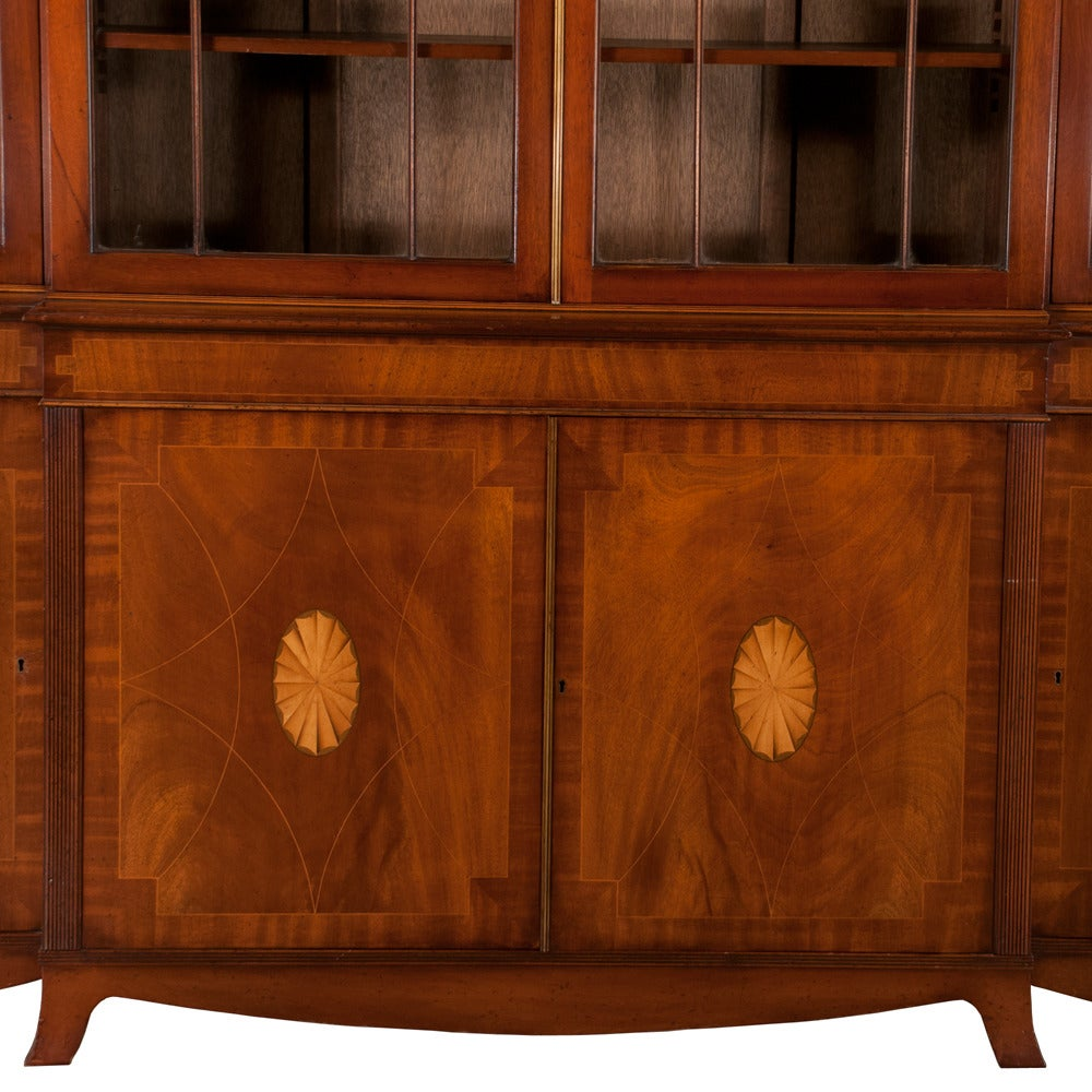 20th Century Mahogany Sheraton Breakfront Bookcase For Sale