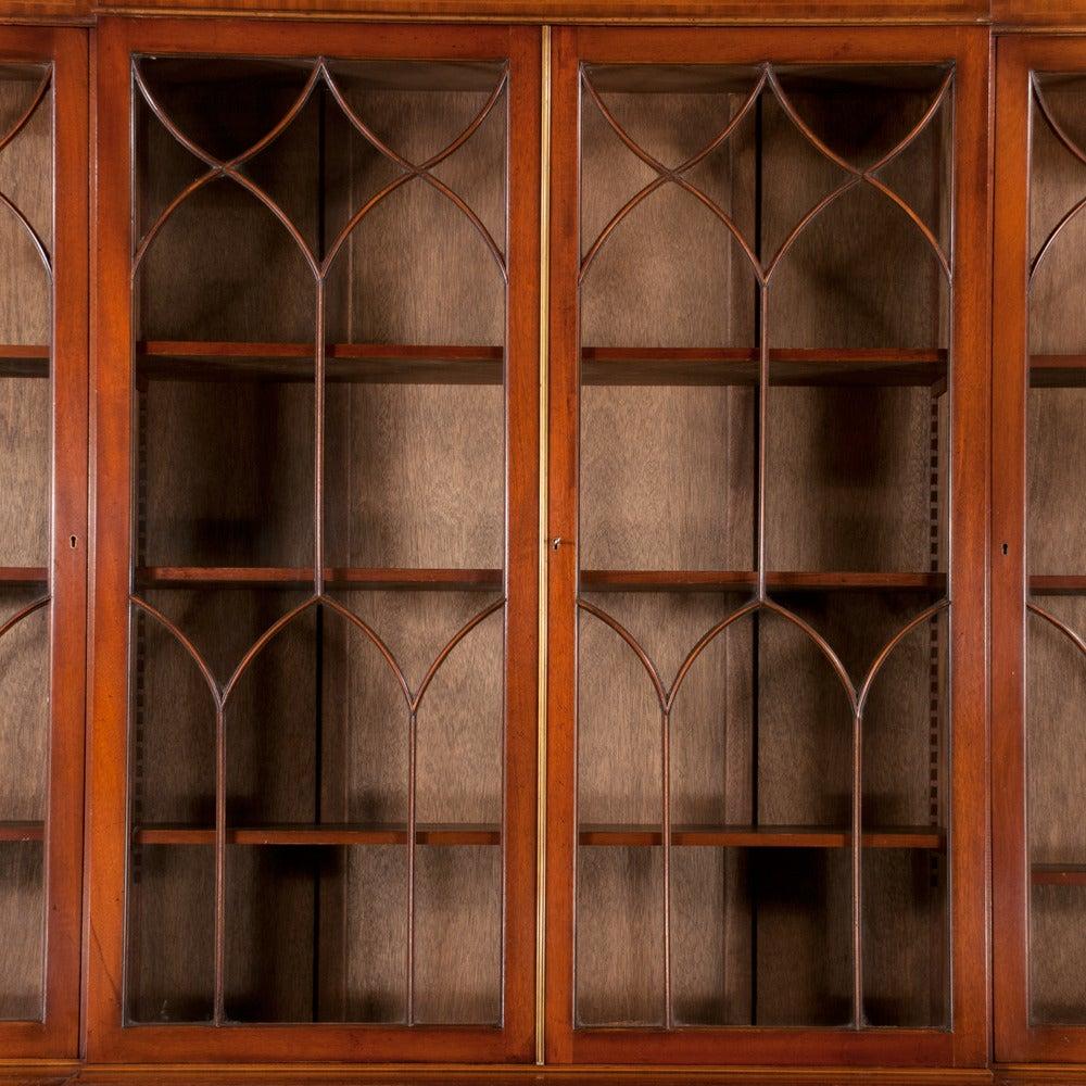 Mahogany Sheraton Breakfront Bookcase For Sale 4