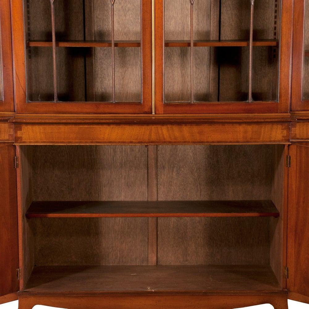 Mahogany Sheraton Breakfront Bookcase For Sale 1