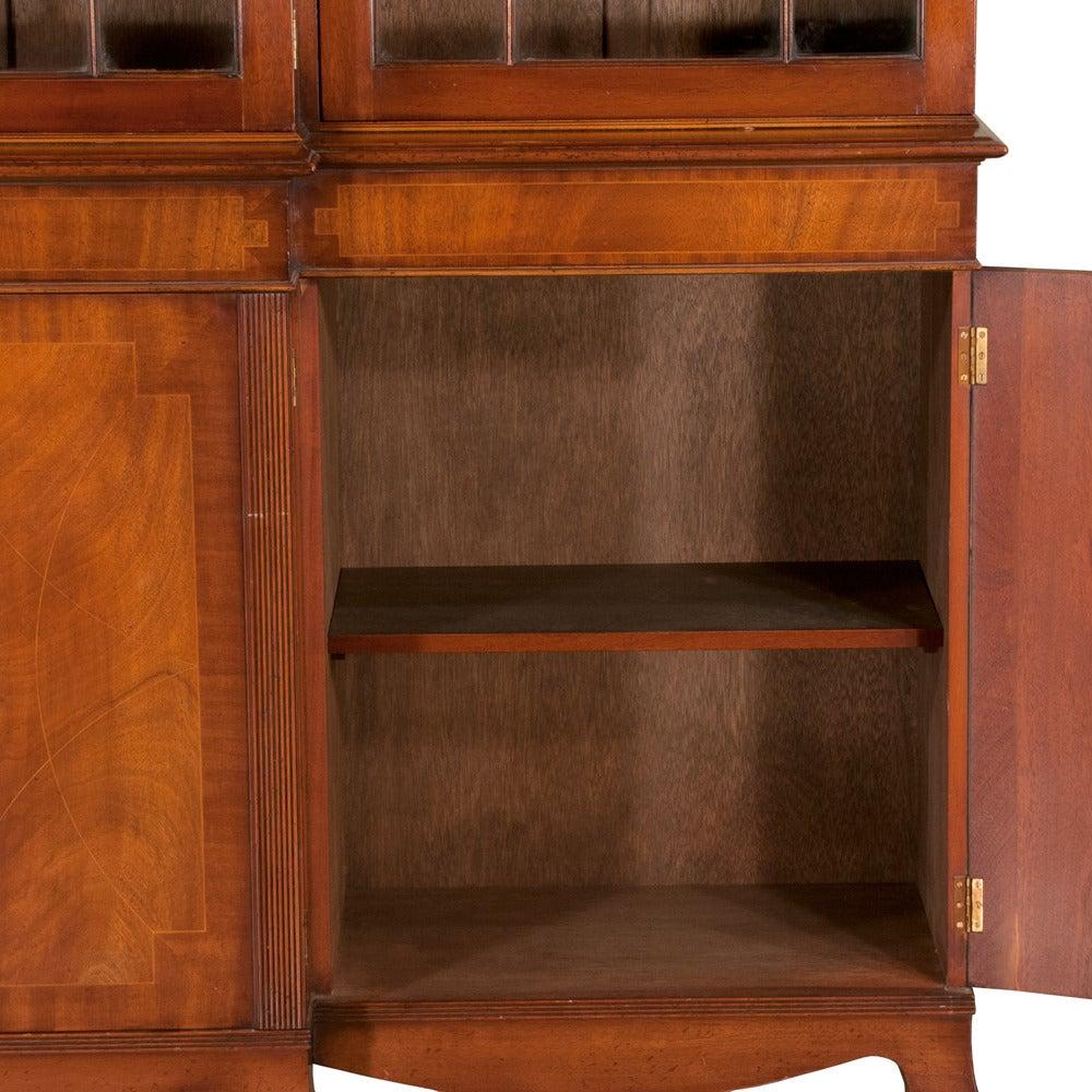 Mahogany Sheraton Breakfront Bookcase For Sale 2