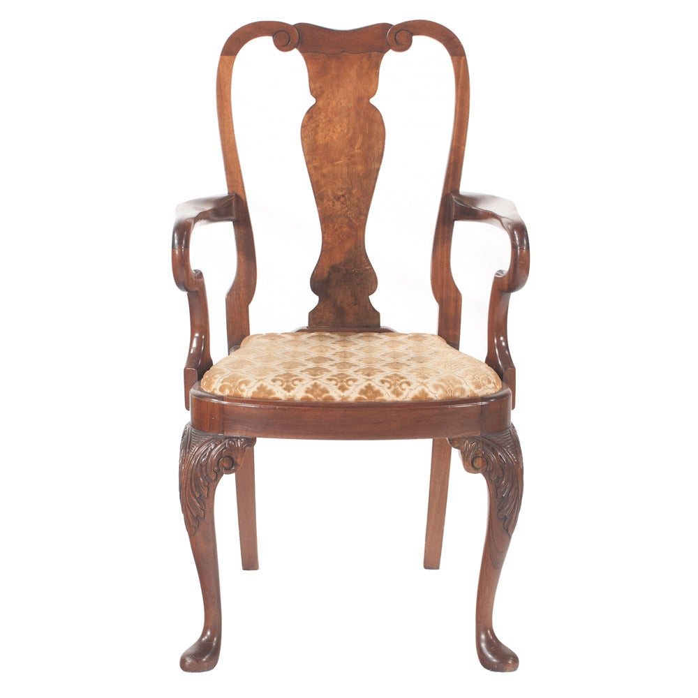 Queen anne style dining chairs set of six at 1stdibs - Queen anne dining room furniture ...