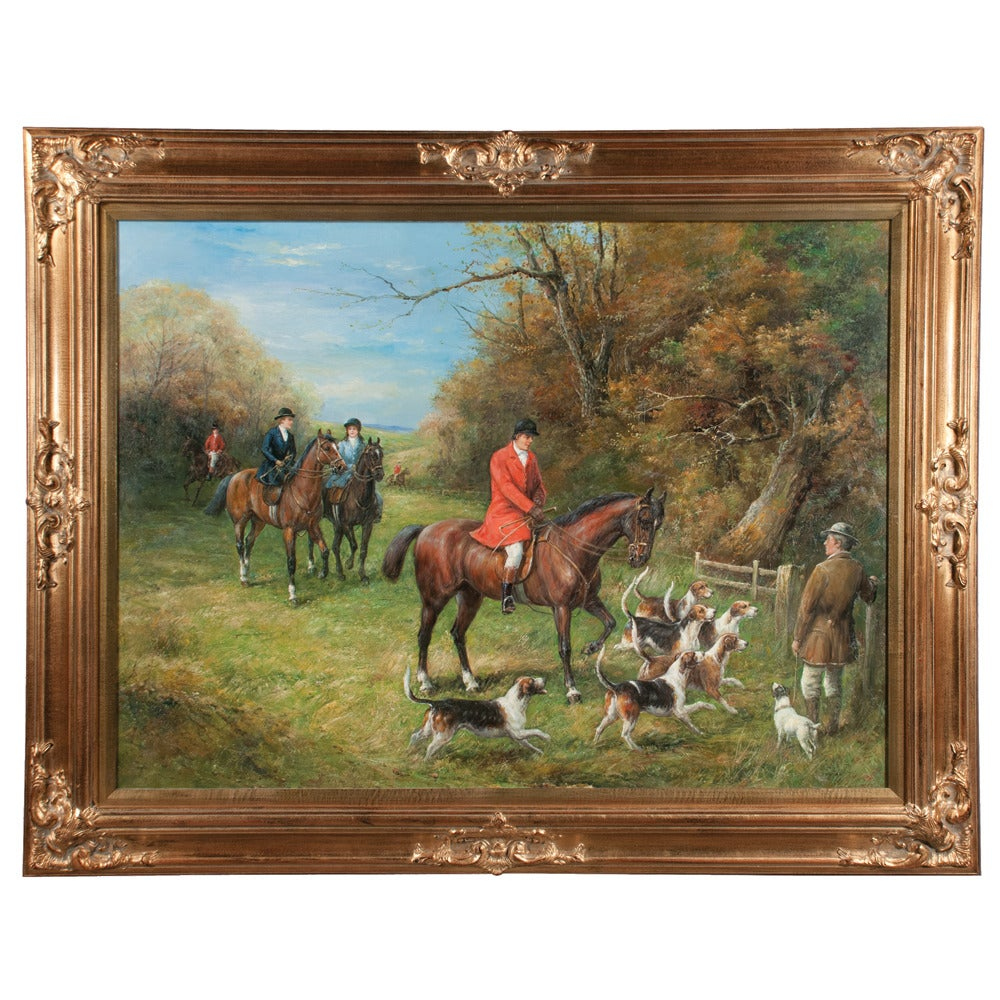 Original Oil on Canvas Fox Hunt Scene For Sale