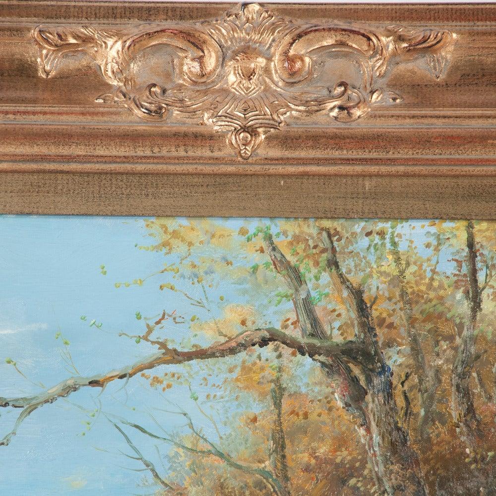 Late 20th Century Original Oil on Canvas Fox Hunt Scene For Sale