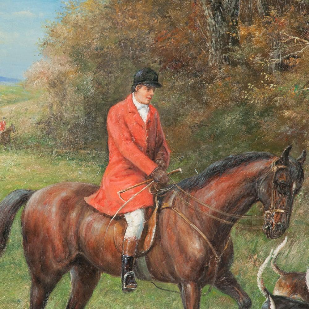 Original Oil on Canvas Fox Hunt Scene For Sale 1