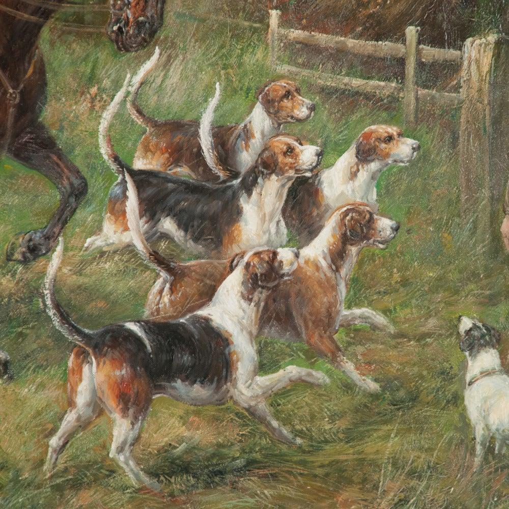 Painted Original Oil on Canvas Fox Hunt Scene For Sale