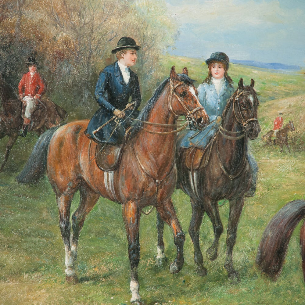 Original Oil on Canvas Fox Hunt Scene For Sale 4