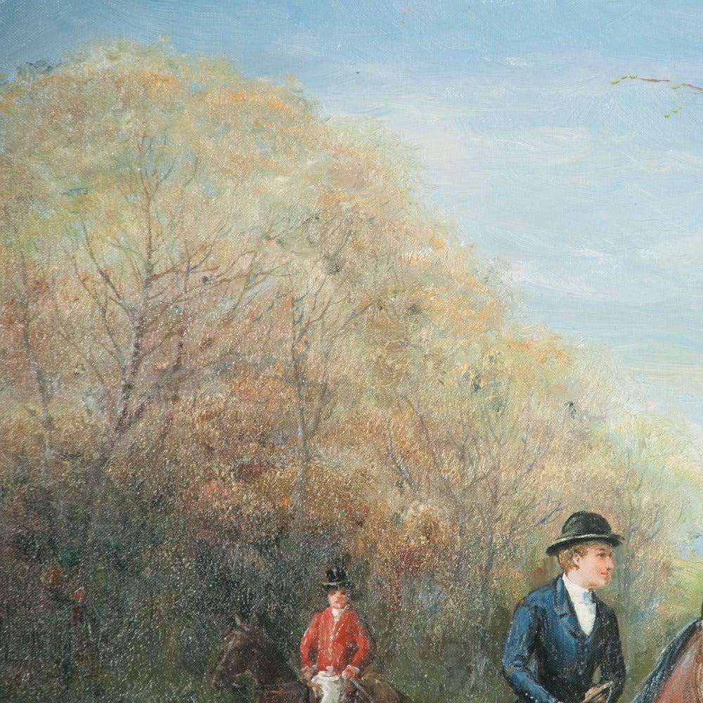 Original Oil on Canvas Fox Hunt Scene For Sale 5