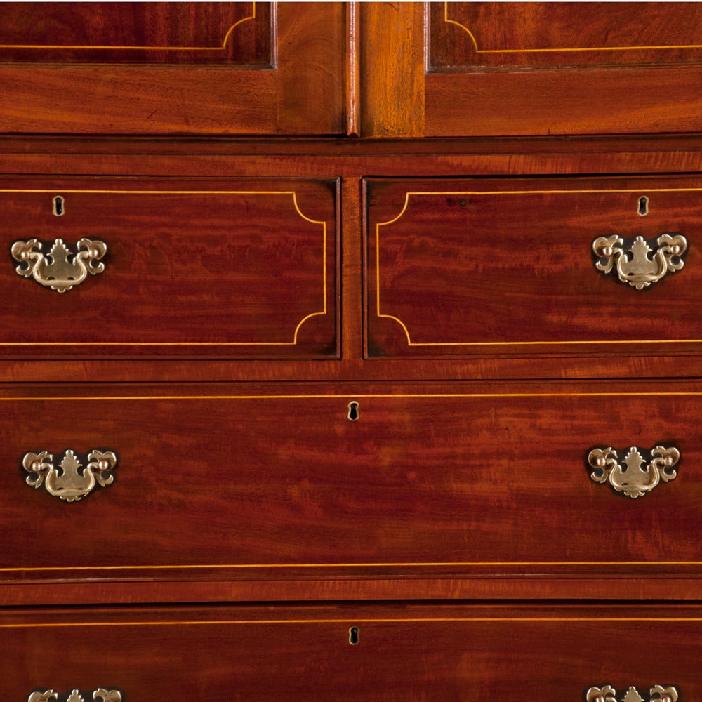 Chippendale Mahogany Linen Press For Sale 5