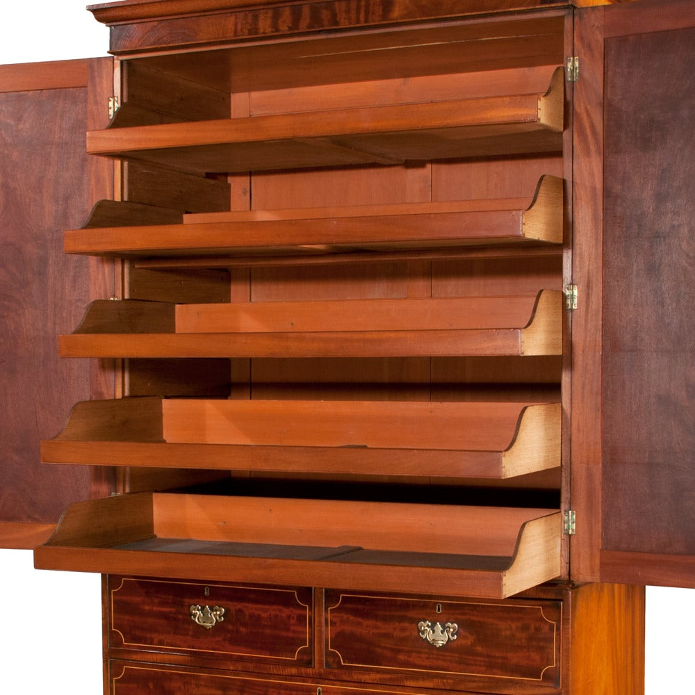 Chippendale Mahogany Linen Press For Sale 2