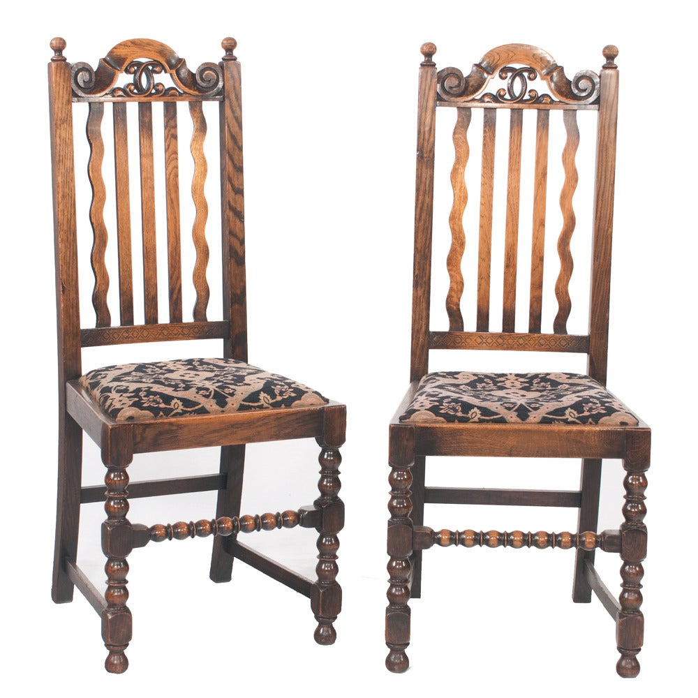 jacobean oak dining chairs set of six for sale at 1stdibs 57 9 piece jacobean walnut dining room set lot 57