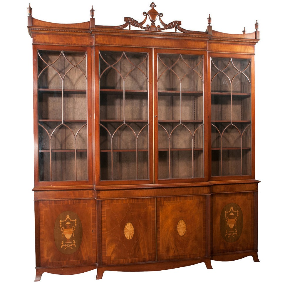 Mahogany Sheraton Breakfront Bookcase For Sale