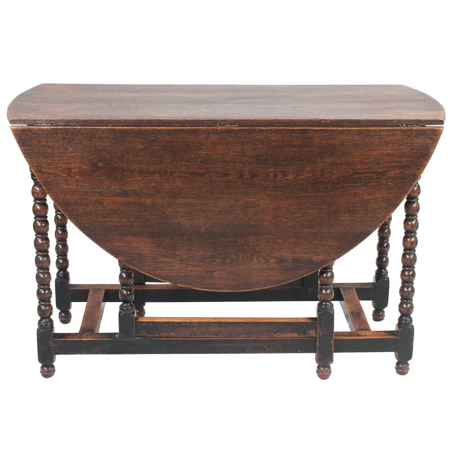 Jacobean oak gate leg dining table at 1stdibs for One leg dining table