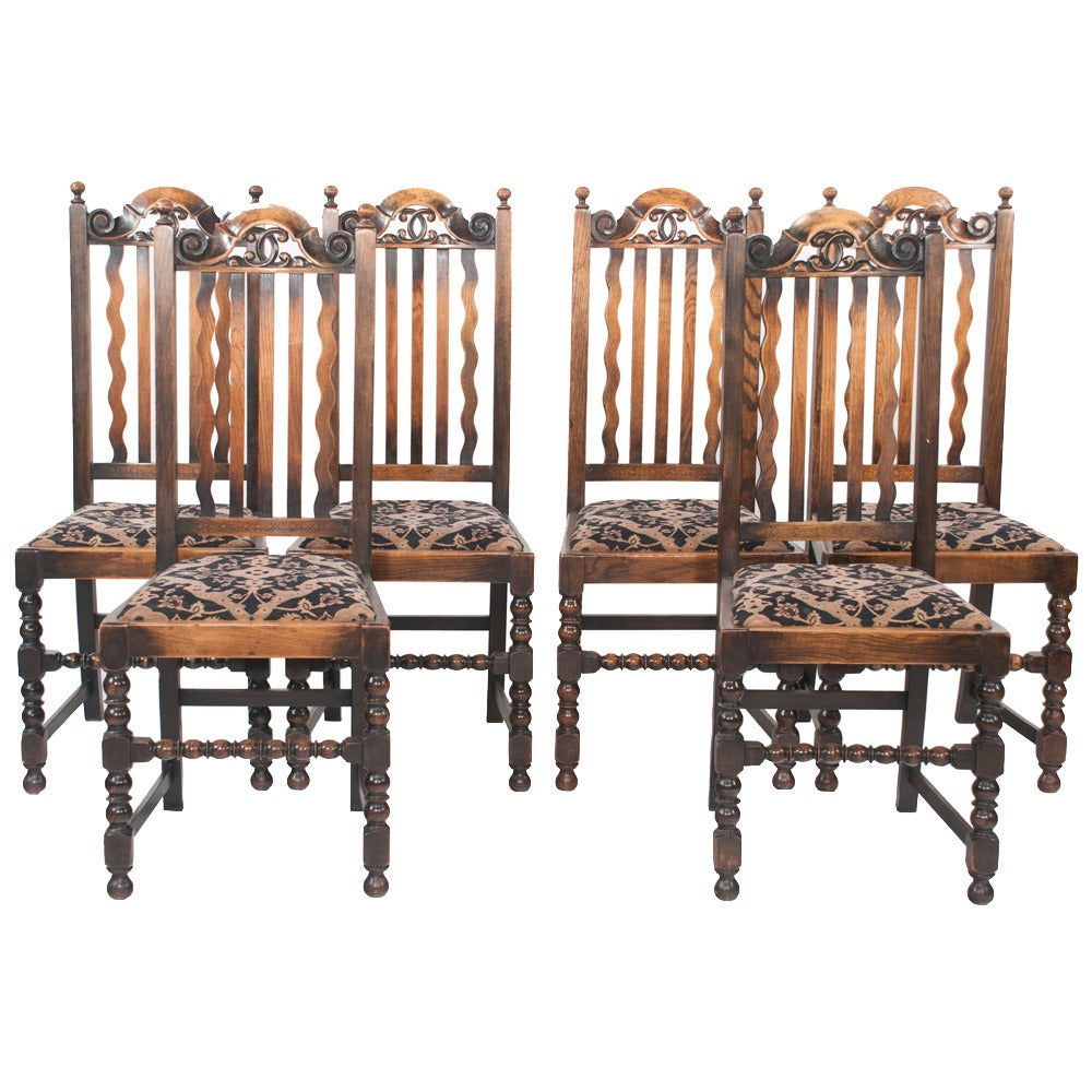 Jacobean oak dining chairs set of six at 1stdibs for Dining room chairs set of 6