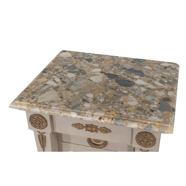 Marble Pair of French Empire Tables For Sale