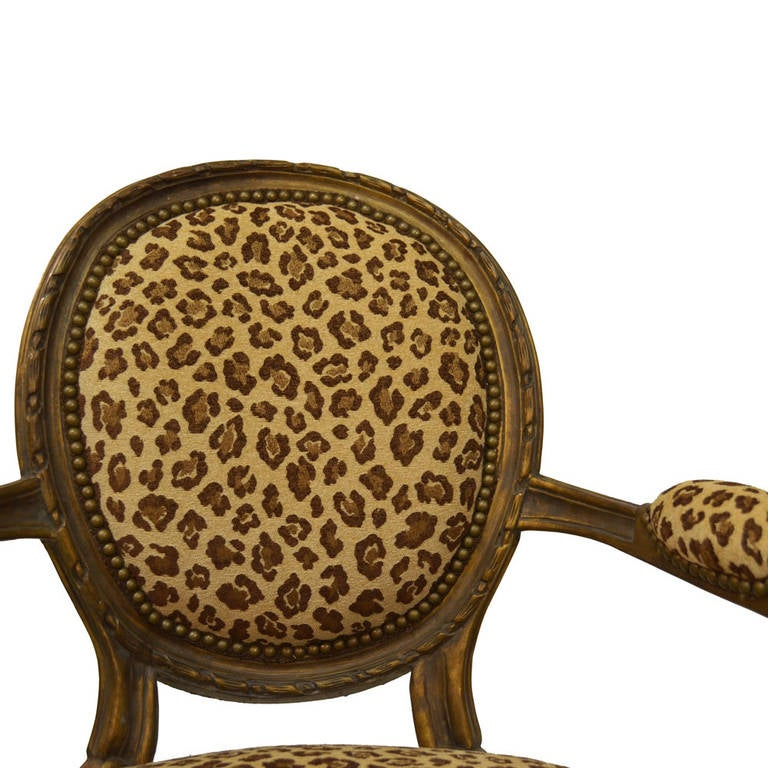 French Pair of Animal Print Louis XVI Armchairs For Sale