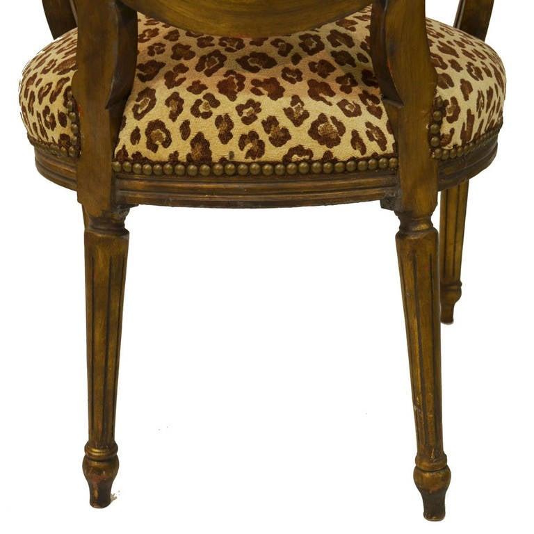 Wood Pair of Animal Print Louis XVI Armchairs For Sale