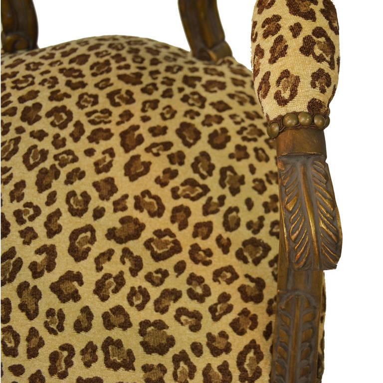 Pair of Animal Print Louis XVI Armchairs For Sale 1