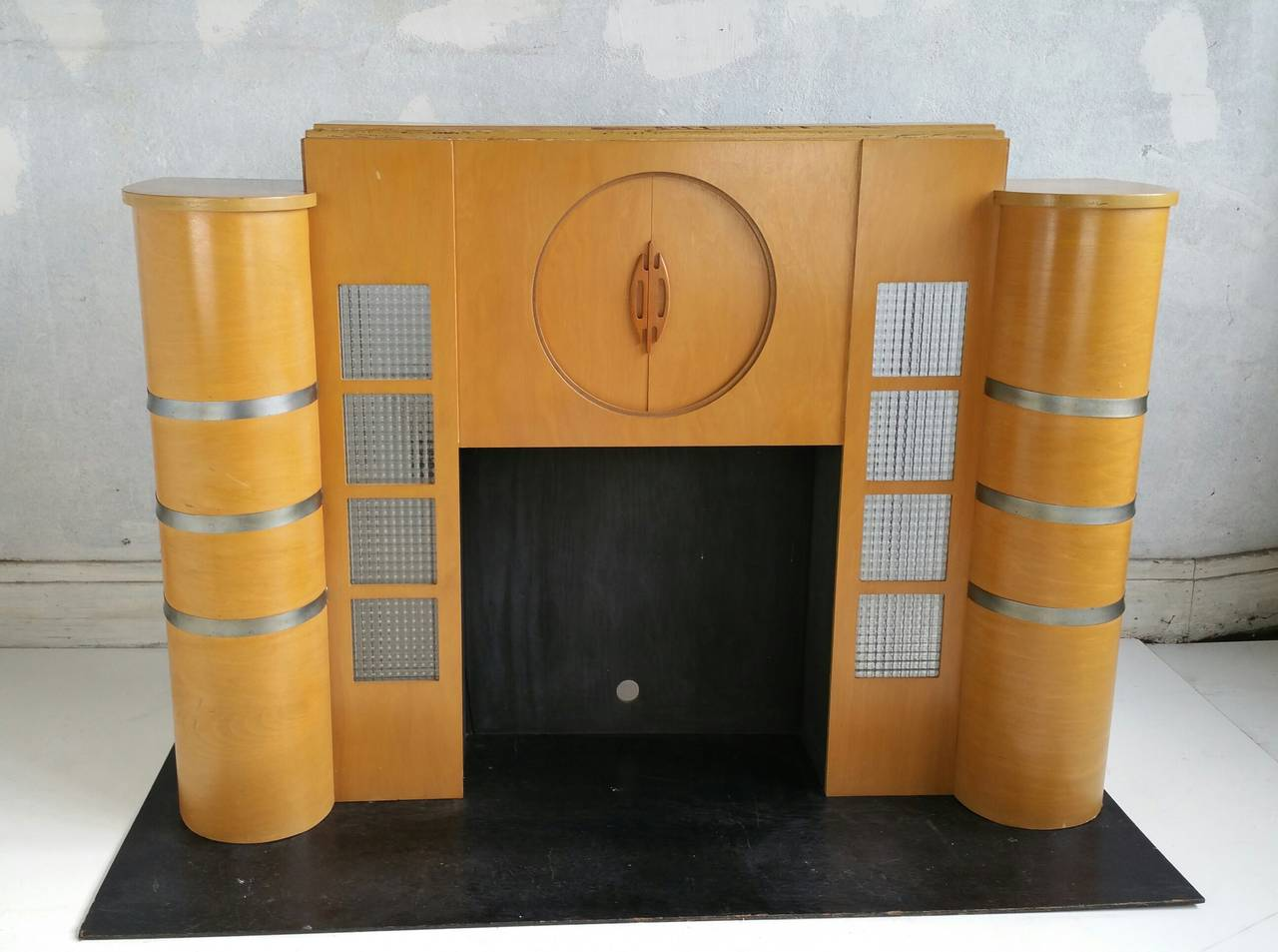 rare art deco streamline fireplace mantel manufactured by