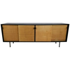 Florence Knoll Black Lacquer and Grasscloth Credenza,,,Knoll Manufacturing