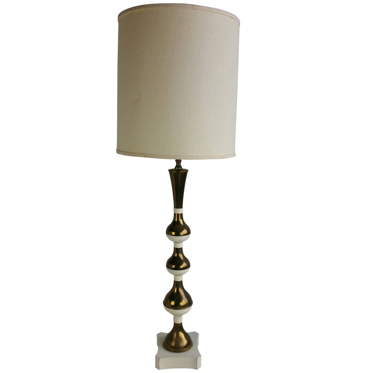 Dramatic Brass and White Table Lamp in the Modernist, Hollywood Regency Style
