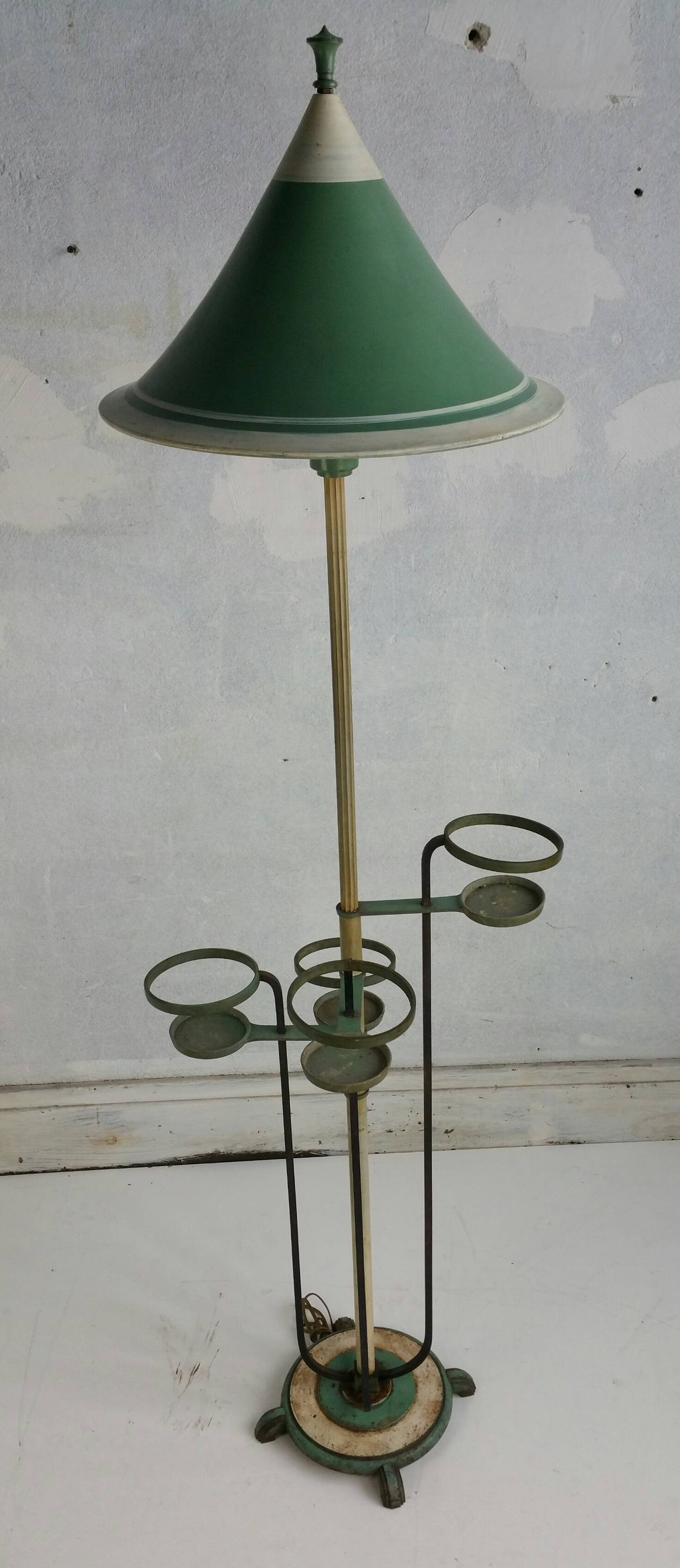 unusual art deco floor lamp in aluminum brass and iron. Black Bedroom Furniture Sets. Home Design Ideas