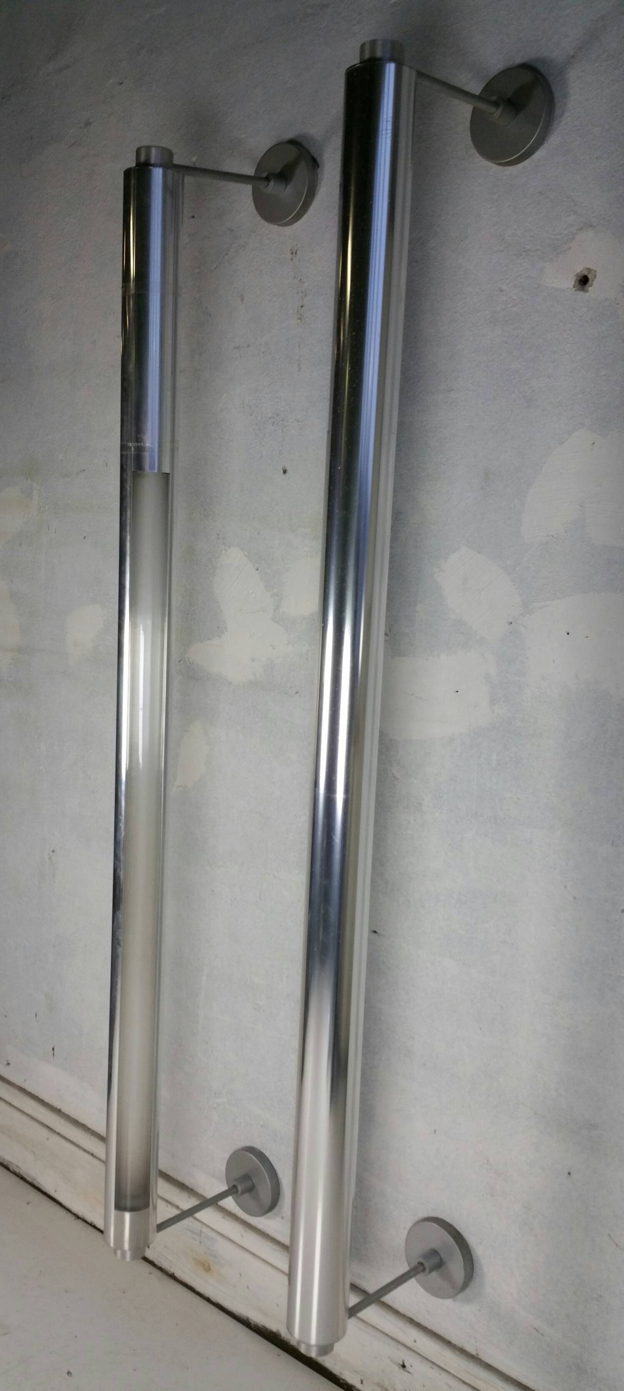 Chrome Cylinder Wall Lights : Rare Minimalist Cylinder Lightolier Chrome Sconces, Modernist at 1stdibs
