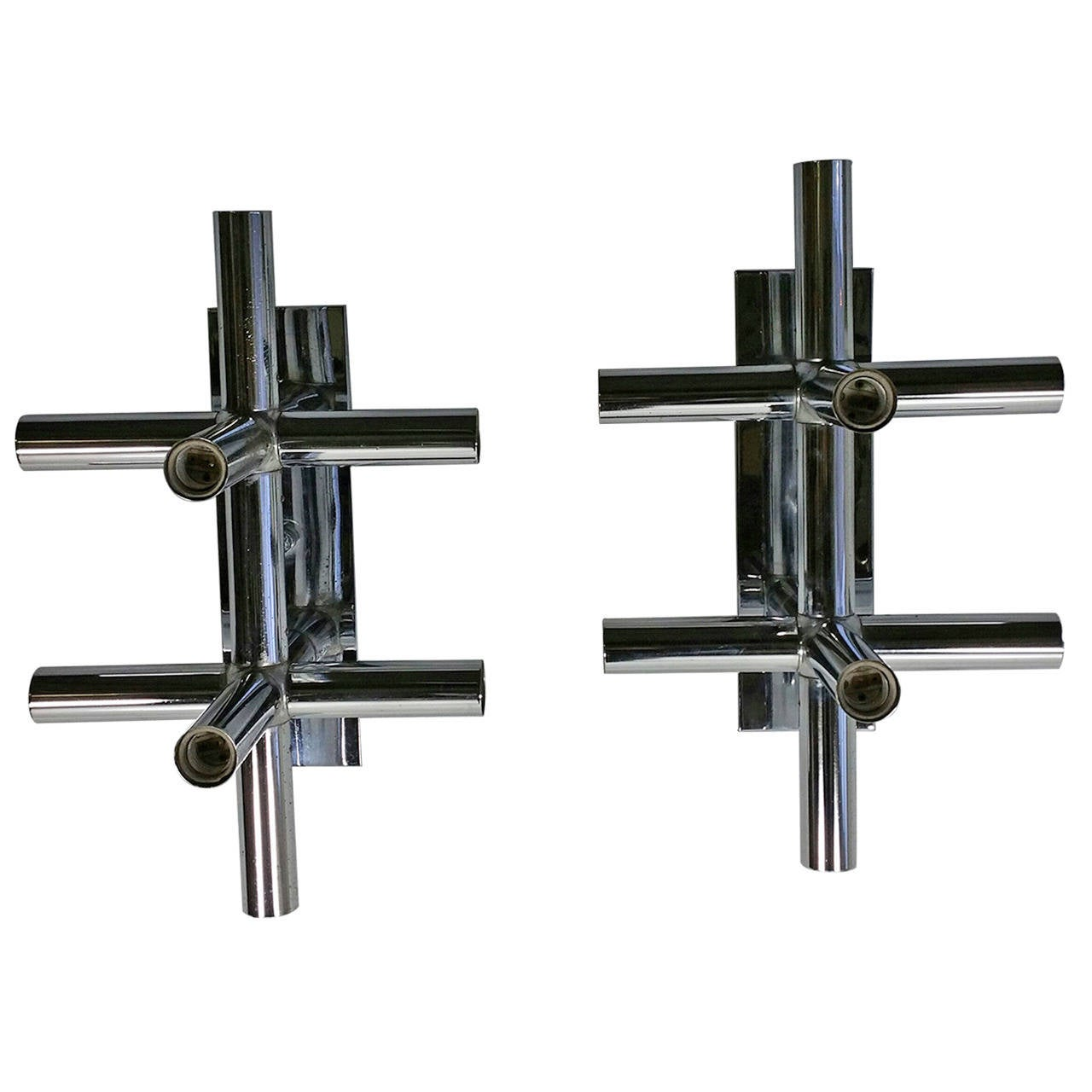 Pair Of Lightolier Chrome Tube Sconces 1970s Space Age Atomic For Sale At 1stdibs