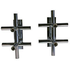 Pair of Lightolier Chrome Tube Sconces, 1970s Space Age, Atomic