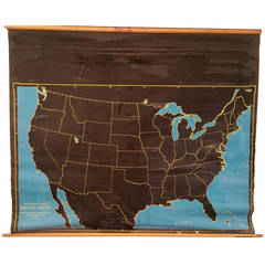 """Cartocraft Slated """"United States"""" Double-Sided Pull-Down Map, Denoyer Geppert"""