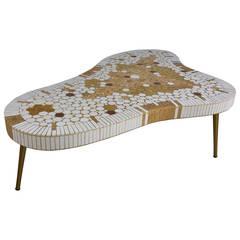 Hohenberg Mosaic Tile Top Coffee Table,,Class modern Amoeba shape