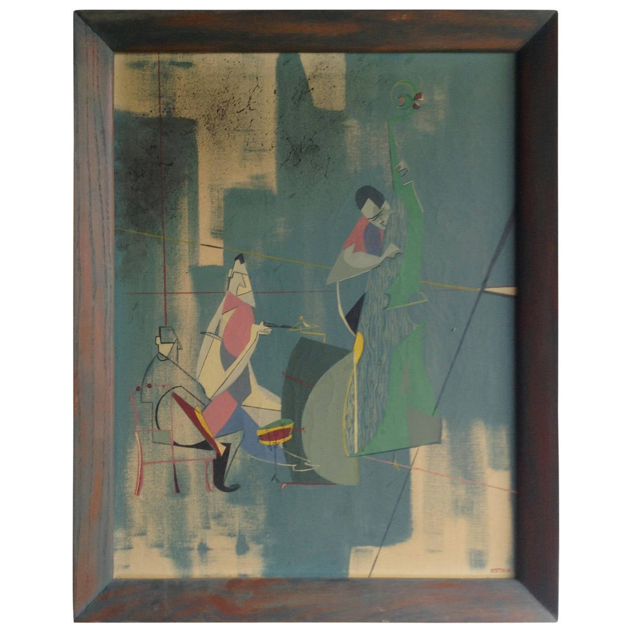 Modernist Cubist Jazz Trio Painting,, oil on board,, signed Efstein