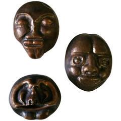 Modernist Hand-Hammered, Bronze Whimsical, Brutalist Mask Sculptures