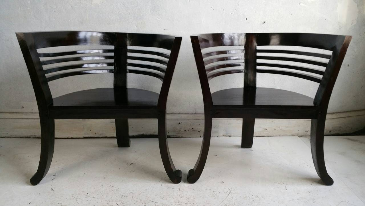 Pair of asian modern barrel chairs at 1stdibs for Asian modern home furniture