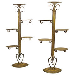 Art Deco Display Stands in Guilded Iron and Brass in the Manner of Edgar Brant