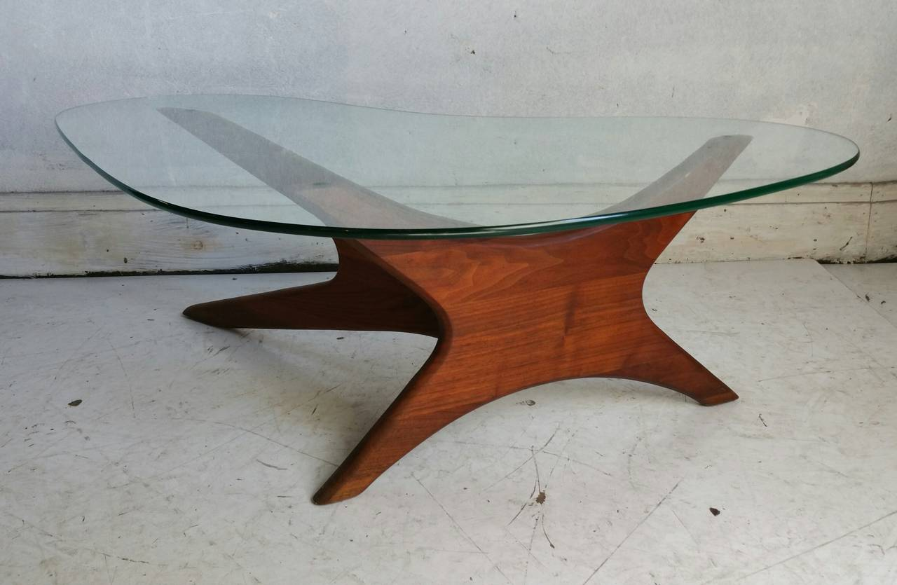 Biomorphic Coffee Table Adrian Pearsall Biomorphic Walnut And Free Form Glass Coffee Table