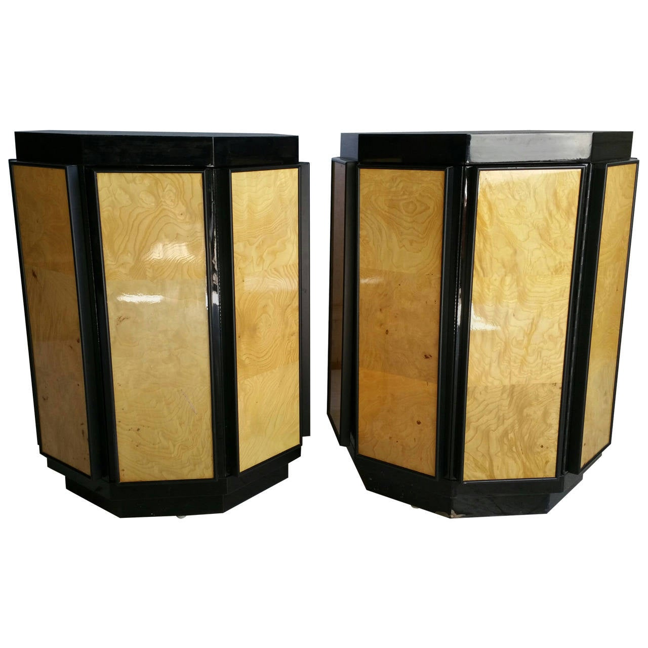 Pair Of Regency Hexagon Olivewood And Black Laquer Stands