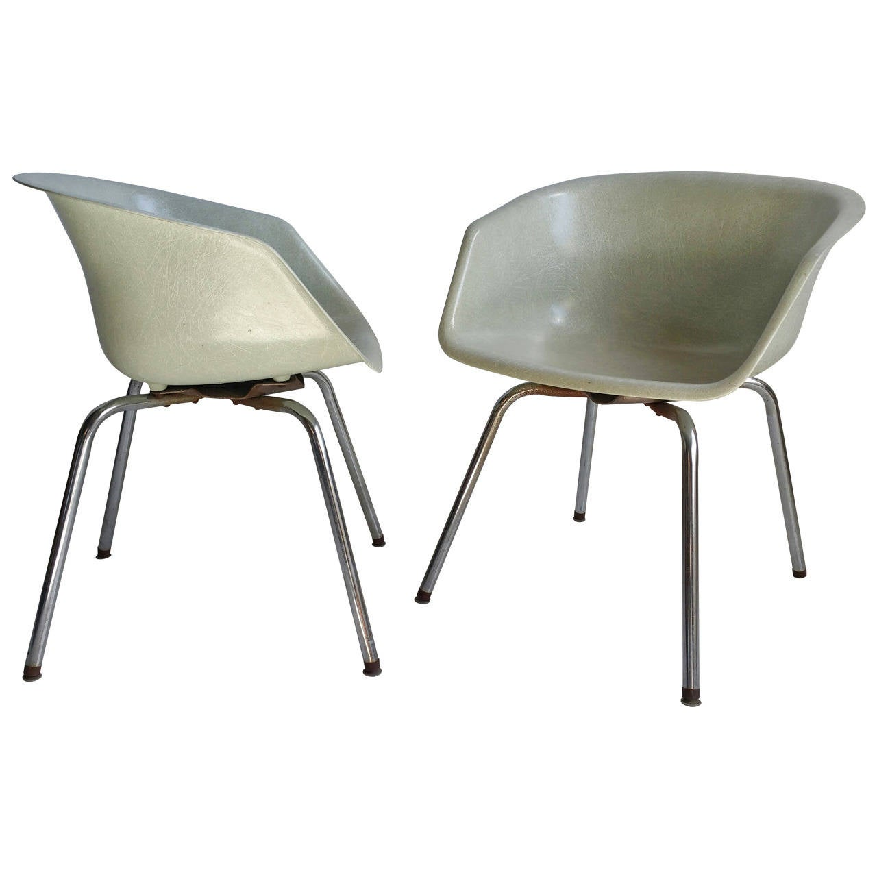Pair Of Mid Century Modern Fiberglass Arm Shell Chairs At