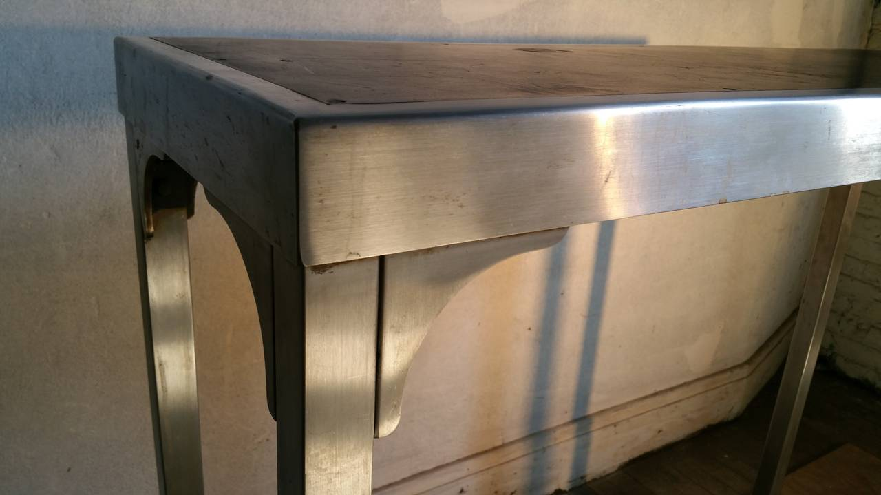 art deco machine age stainless steel console table or desk at stdibs - art deco machine age stainless steel console table or desk