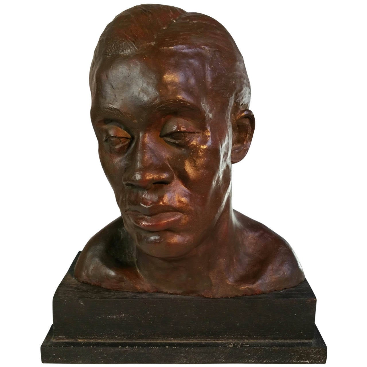 African American Bronzed Plaster Bust, Harlem Renaissance, 1930s