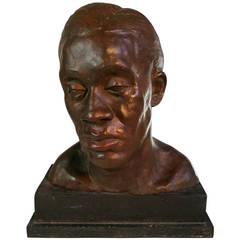 African American Bronzed Plaster Bust, Harlem Renaissance, 1930s