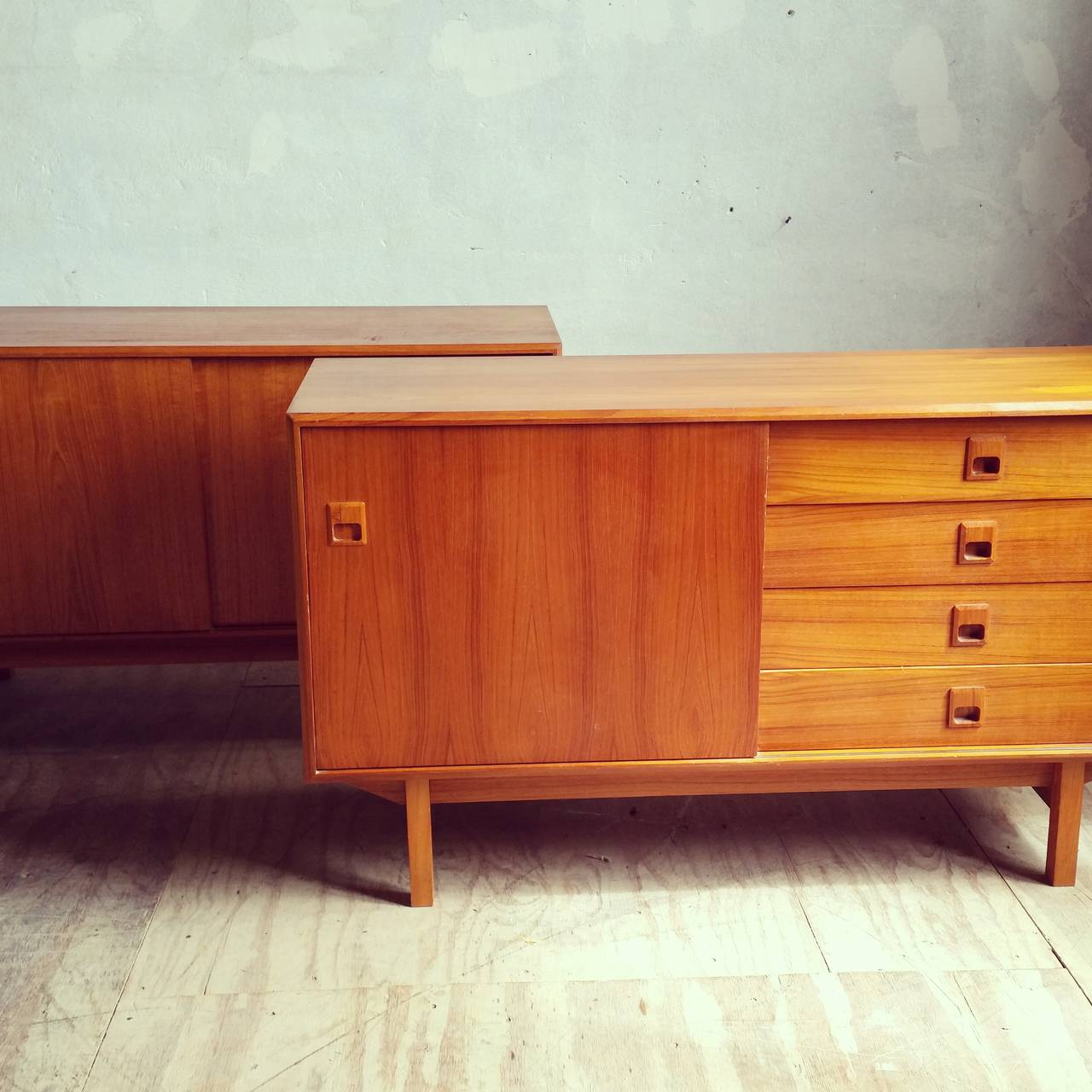 matched pair of danish modern teak wood credenzas or. Black Bedroom Furniture Sets. Home Design Ideas
