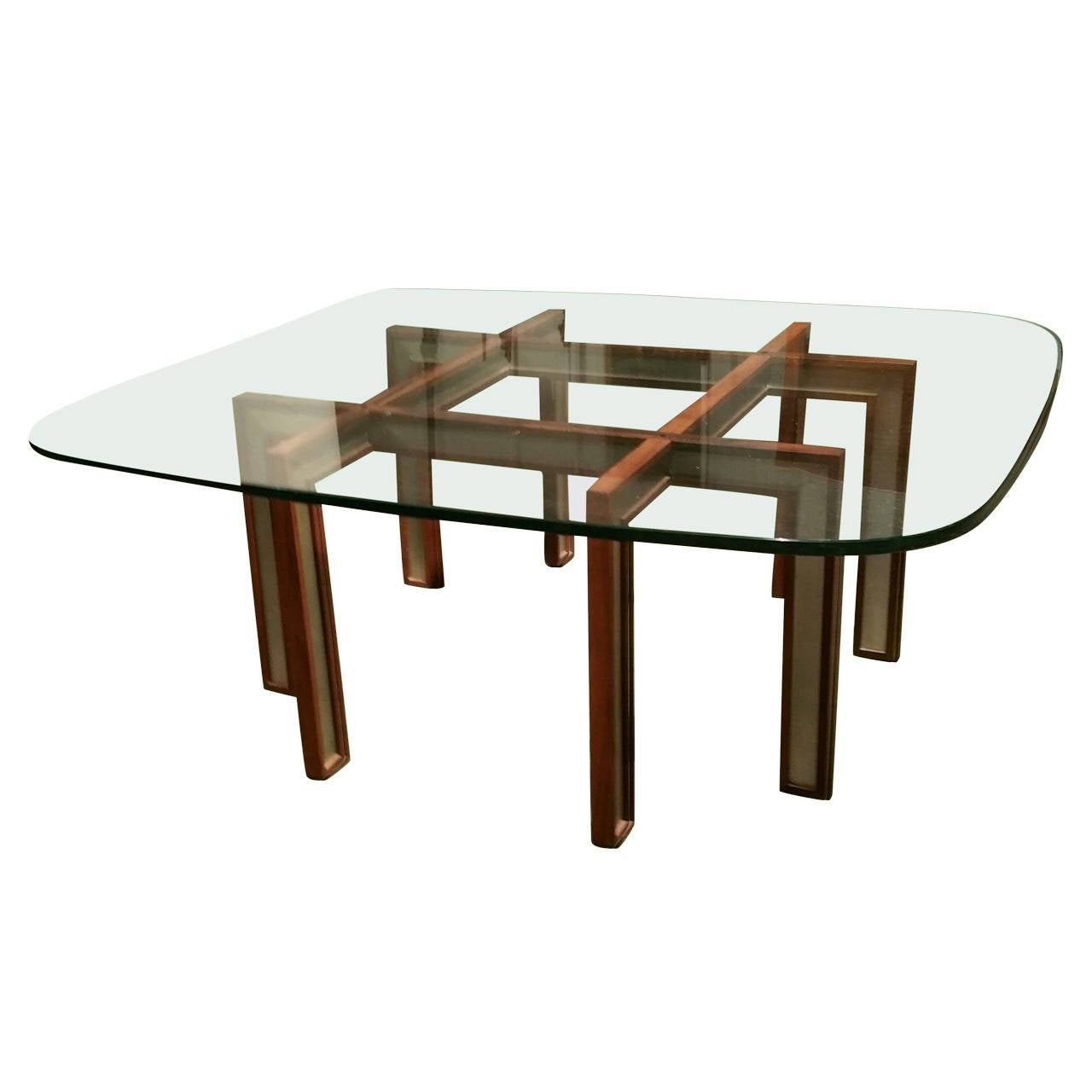 Rosewood and Brushed Steel Cocktail Table by Henning Korch