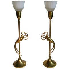 Pair of Brass Table Lamps with Stylized Exotic Bird at Center