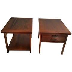 Mid-Century Modern Walnut Tables or Stands, Manufactured by Lane