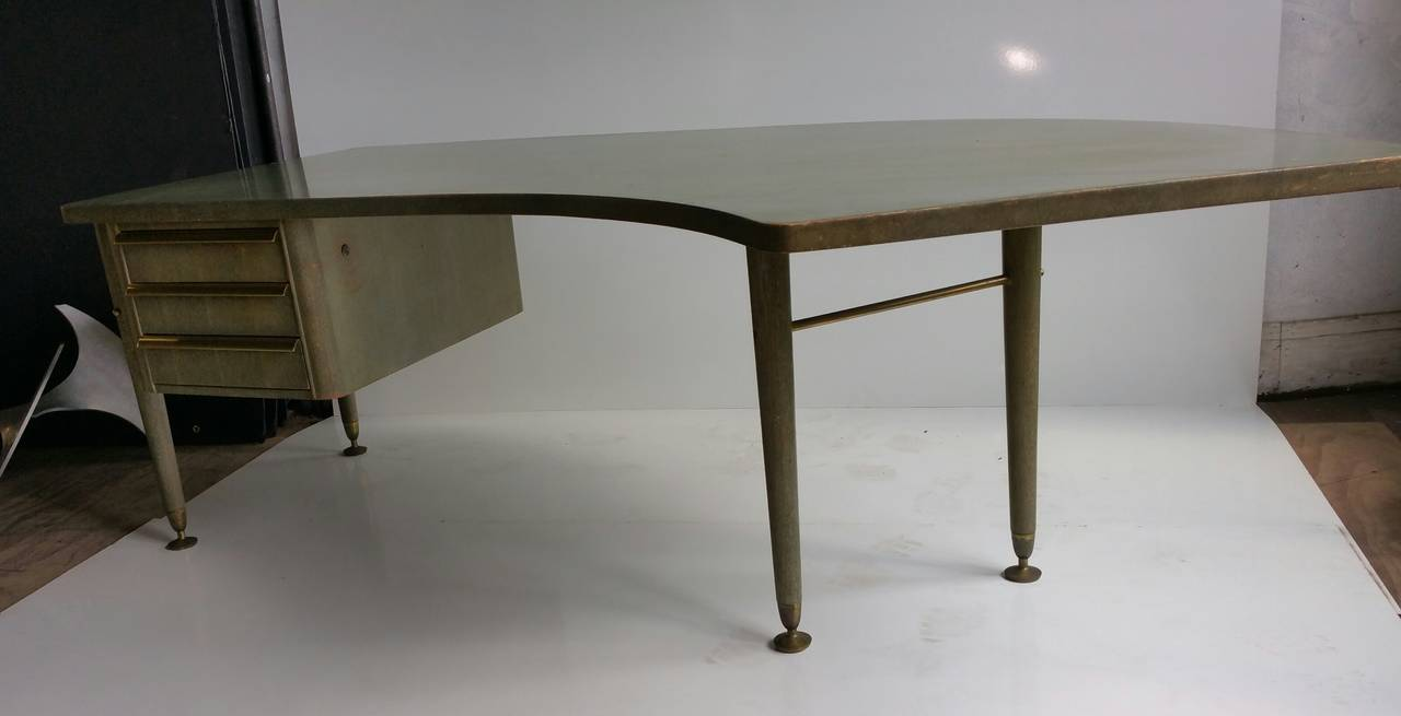 Rare Lime Green Cursed Oak Curved Executive Desk By Stow