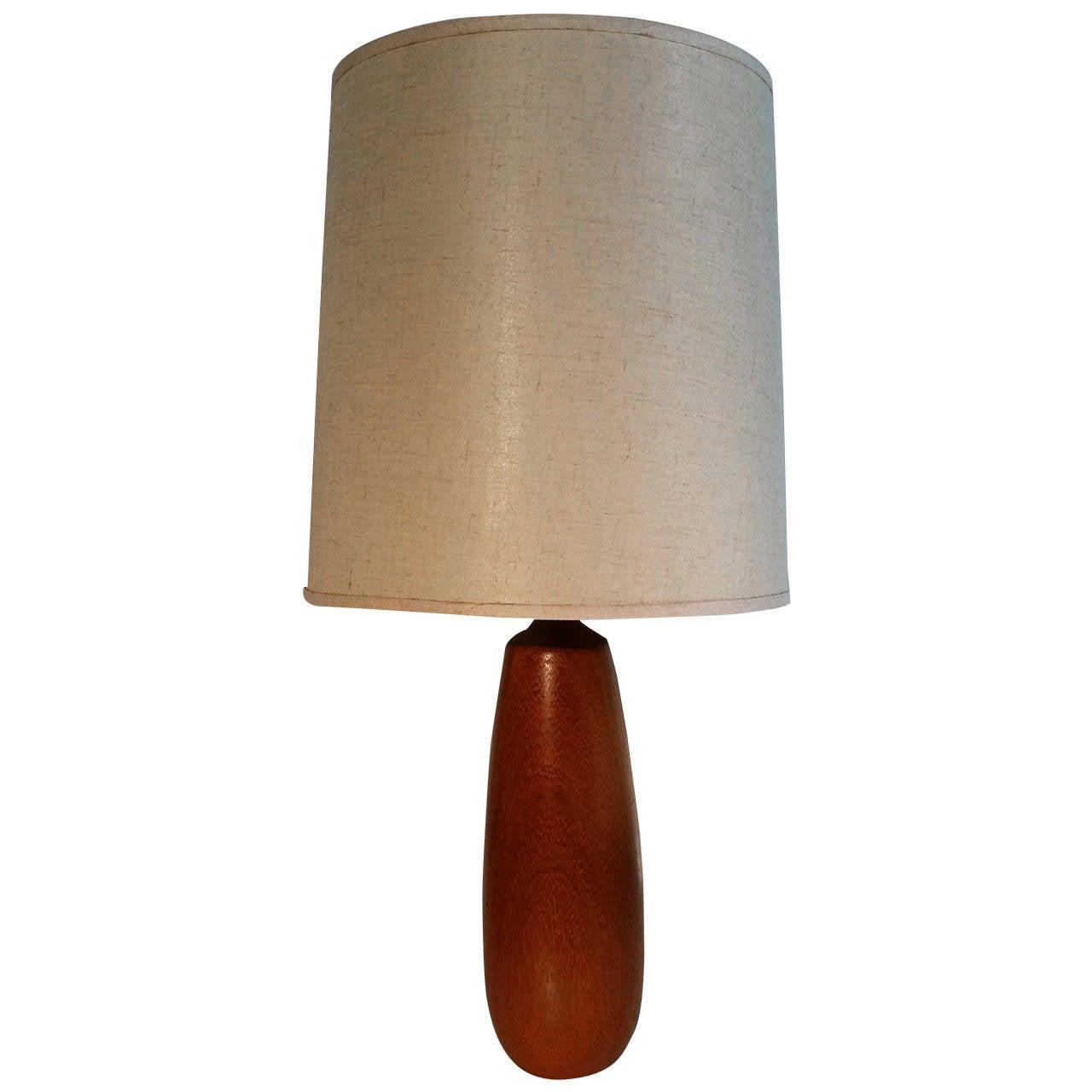 Danish Hand-Turned Teak Wood Modernist Lamp
