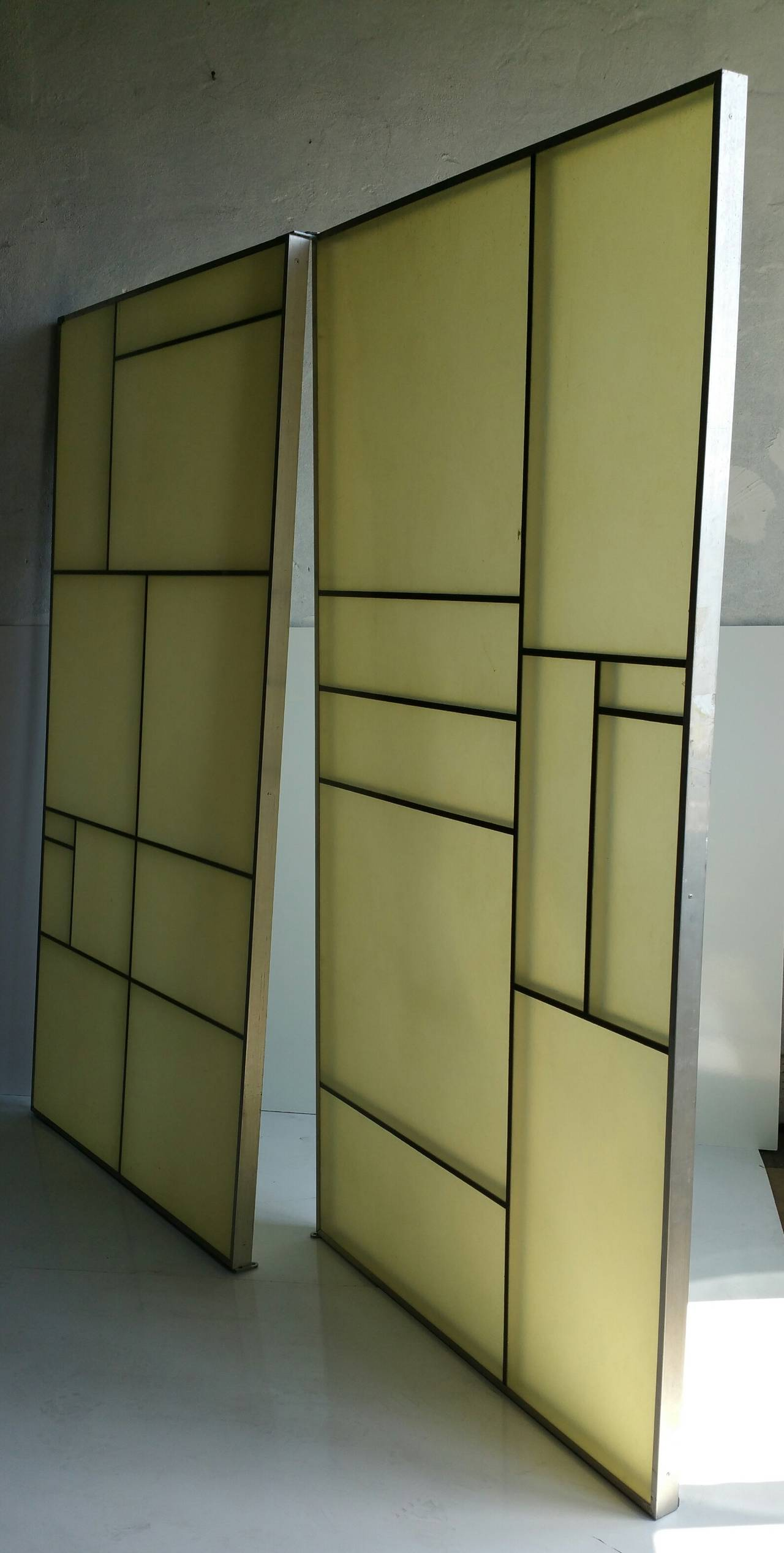 Architectural Aluminum and Fiberglass Panels or Screen, Mondrian Design In Good Condition For Sale In Buffalo, NY