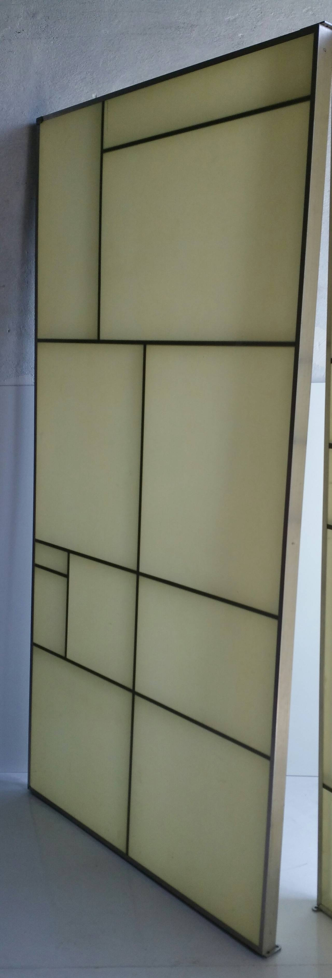 Mid-Century Modern Architectural Aluminum and Fiberglass Panels or Screen, Mondrian Design For Sale