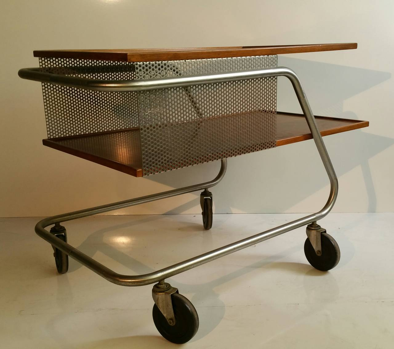 midcentury modern aluminum and wood industrial trolly bar cart  - midcentury modern aluminum and wood industrial trolly bar cart