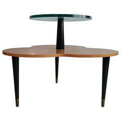 Modern Wood and Glass Two-Tier Occasional Clover Table Designed by Gilbert Rohde